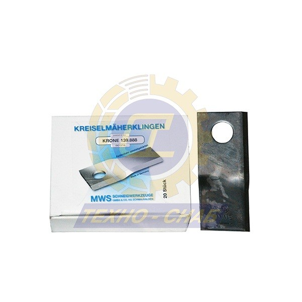 Нож дисковой косилки (112x48x4 мм, d19) 60-0112-61-01-7 - Запасные части для кормоуборочной техники (Ножи на дисковые косилки)